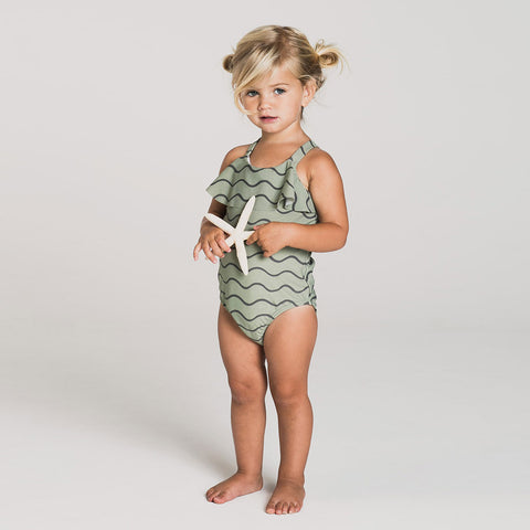 Rylee and Cru SS18 sea-foam frill one piece swimsuit for girls