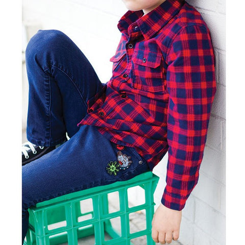 Boys' flannel shirt by Alphabet Soup, 100% cotton.