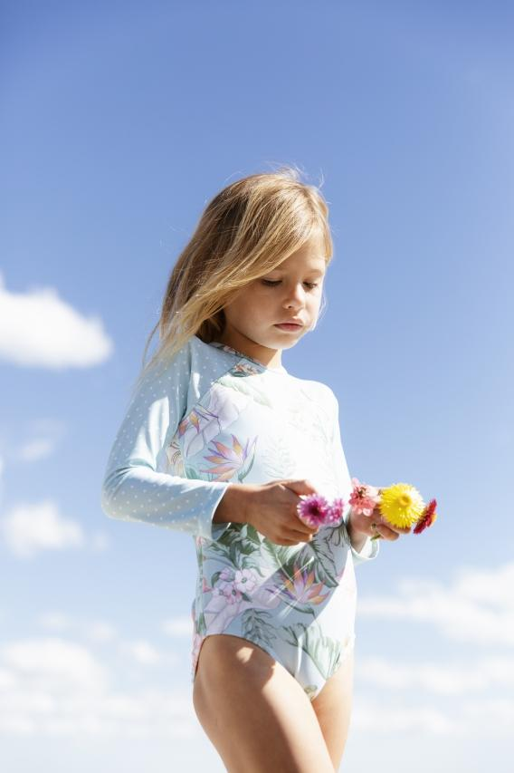 KAISEA SWIMWEAR Lanikai Long Sleeve Rashie One Piece **PRE ORDER** - Tiny People Cool Kids Clothes Byron Bay