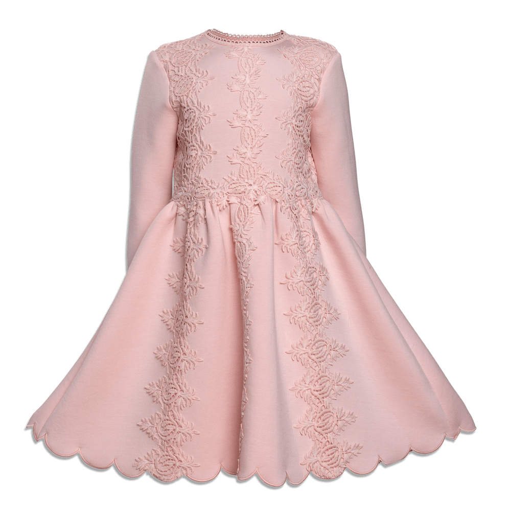 Petite Amalie Double Knit Lace Dress Pink | Tiny People