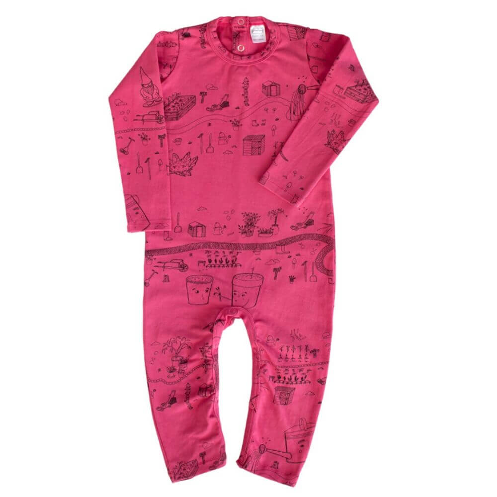 G. Nancy Bougainvillea Garden LS Romper | Tiny People
