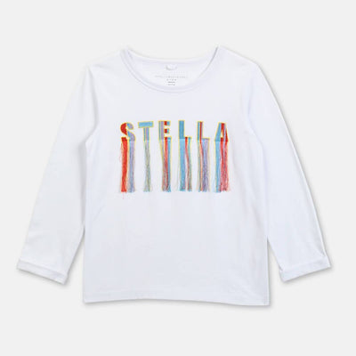 Stella McCartney Fringes Logo LS Tee Tops & Tees - Tiny People Cool Kids Clothes