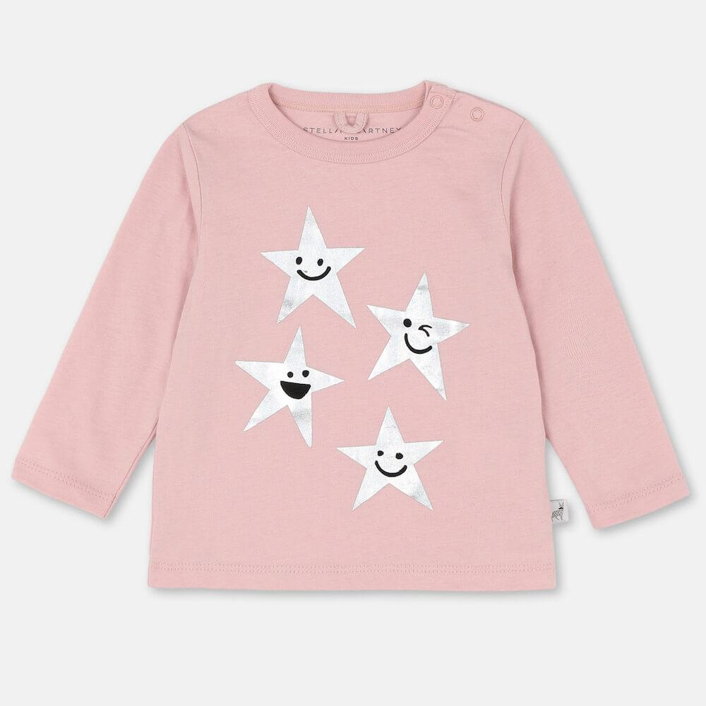 Stella McCartney Smiling Stars Cotton LS Tee Tops & Tees - Tiny People Cool Kids Clothes