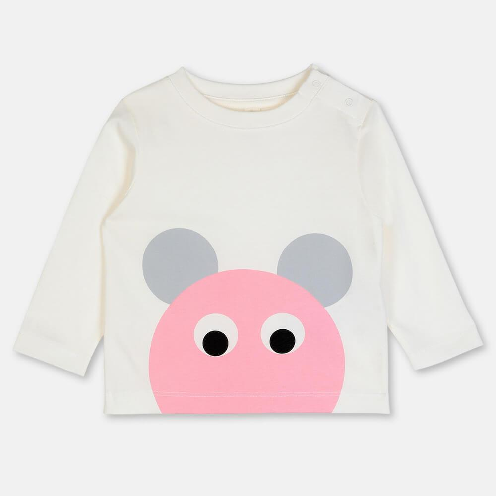 Pink Mouse Cotton LS Tee