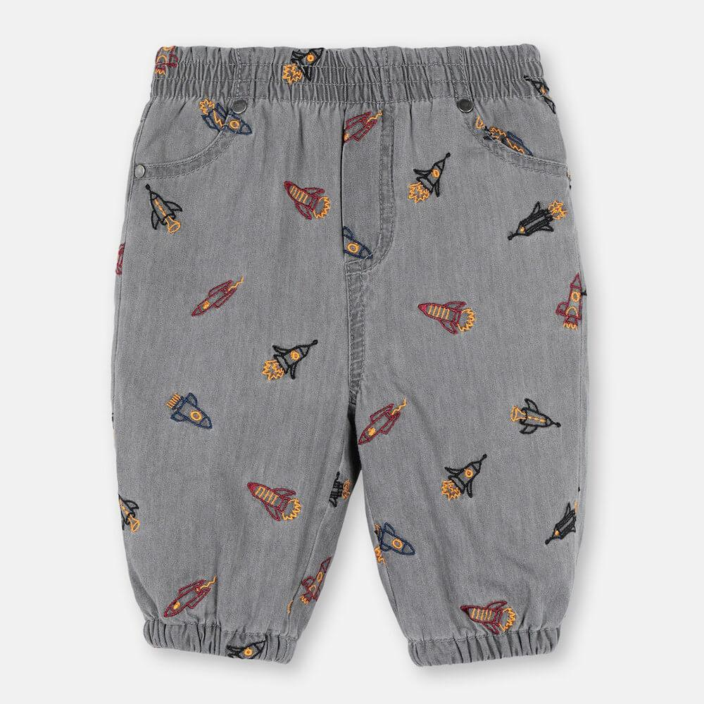 Stella McCartney Rockets Embroidery Chambray Pants Pants - Tiny People Cool Kids Clothes