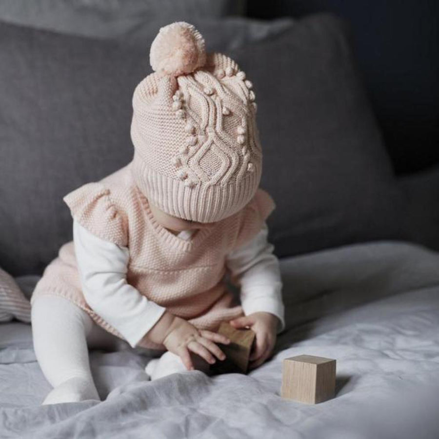 Cable Knitted Pom Pom Hat - Peachy Pink