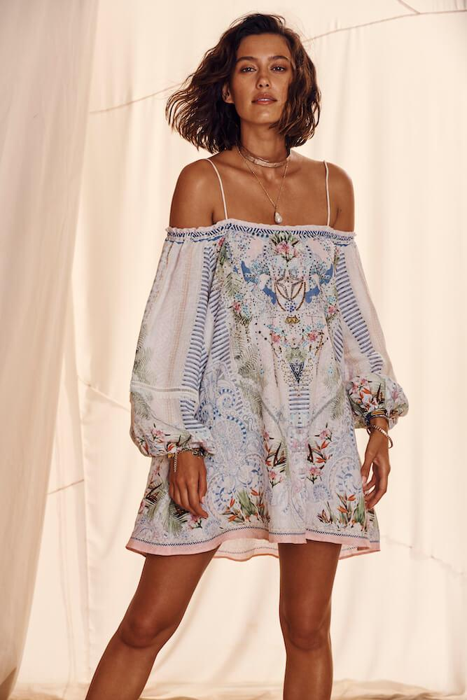 Beach Shack Off Shoulder Dress w/ Straps