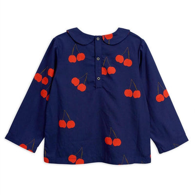 Mini Rodini Cherry Woven Pleat Blouse Navy Tops & Tees - Tiny People Cool Kids Clothes