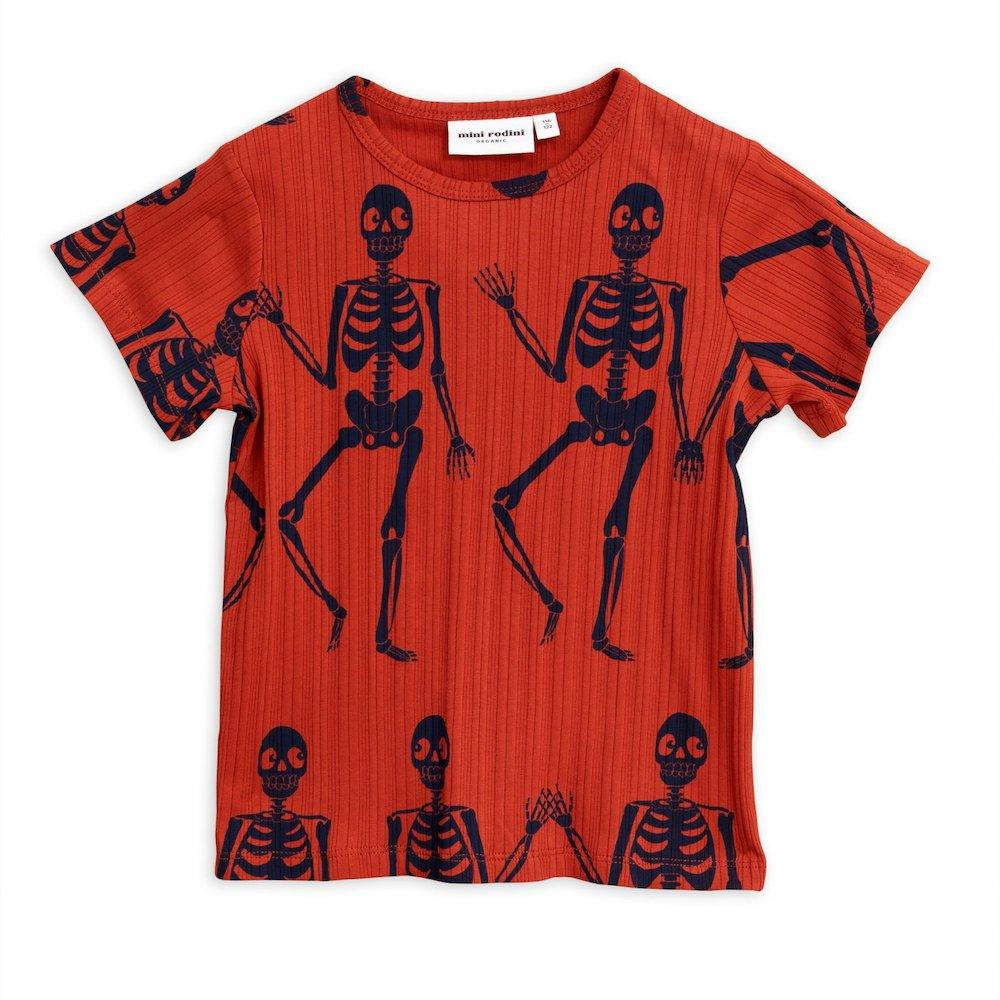 Mini Rodini Skeleton SS Tee Red Tops & Tees - Tiny People Cool Kids Clothes