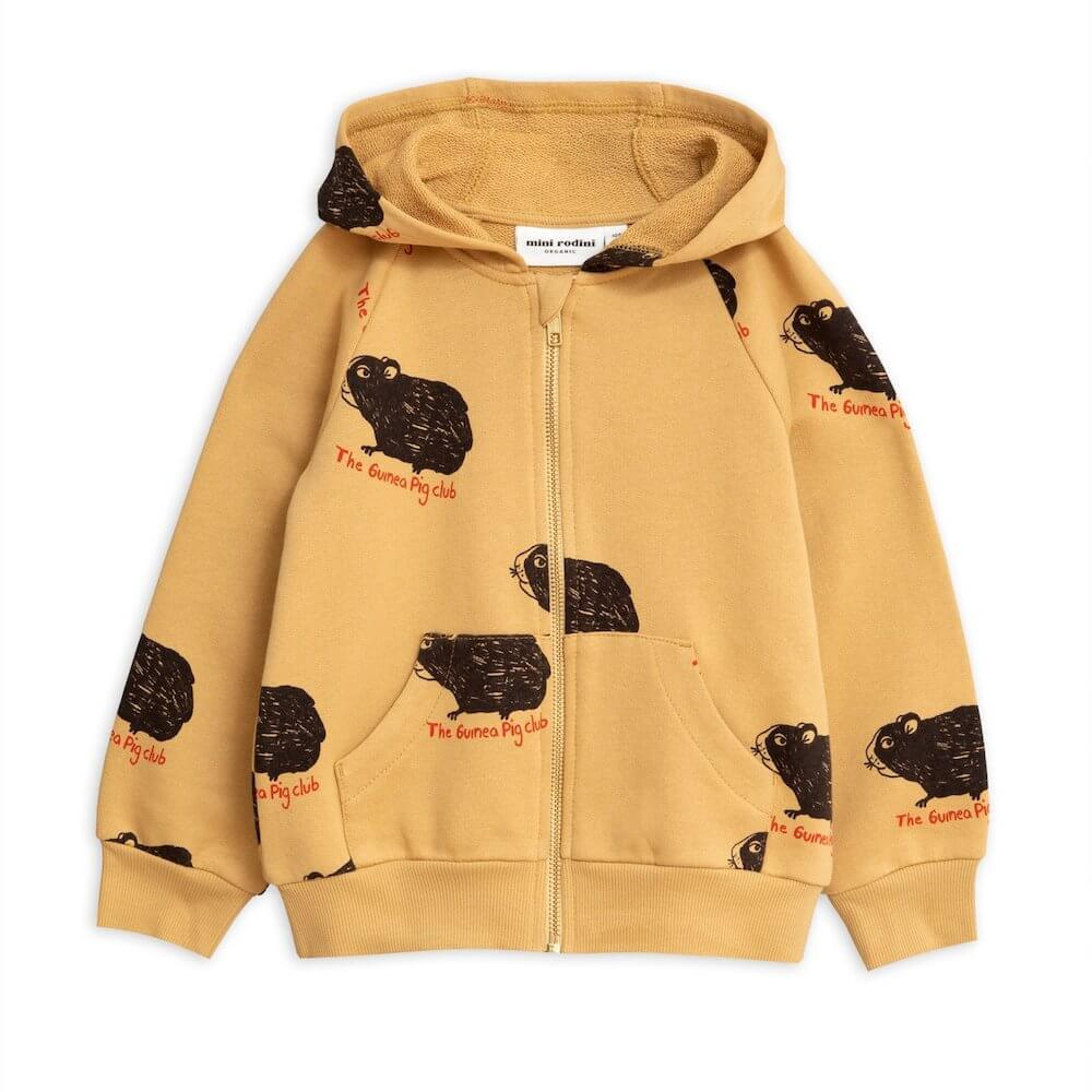 Mini Rodini Guinea Pig Zip Hoodie Beige Jumper - Tiny People Cool Kids Clothes
