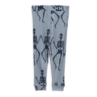 Mini Rodini Skeleton Leggings Blue Leggings - Tiny People Cool Kids Clothes
