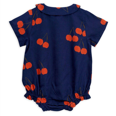 Mini Rodini Cherry Woven Bodysuit Navy Baby Onesies & Rompers - Tiny People Cool Kids Clothes