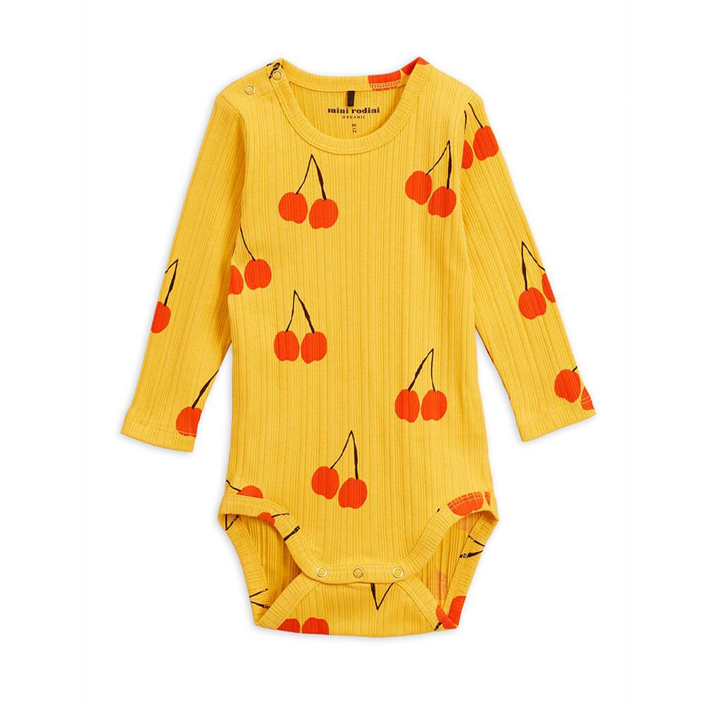 Mini Rodini Cherry LS Bodysuit Yellow Baby Onesies & Rompers - Tiny People Cool Kids Clothes