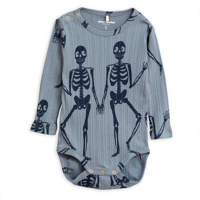 Mini Rodini Skeleton LS Bodysuit Blue Baby Onesies & Rompers - Tiny People Cool Kids Clothes
