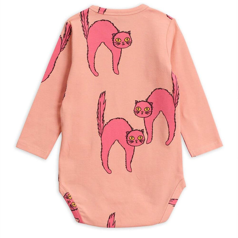Mini Rodini Catz LS Bodysuit Pink Baby Onesies & Rompers - Tiny People Cool Kids Clothes
