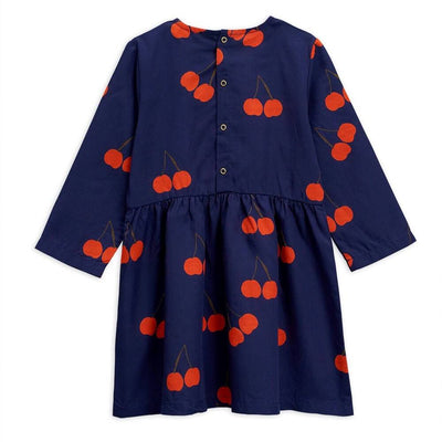 Mini Rodini Cherry Woven LS Dress Navy Dresses - Tiny People Cool Kids Clothes
