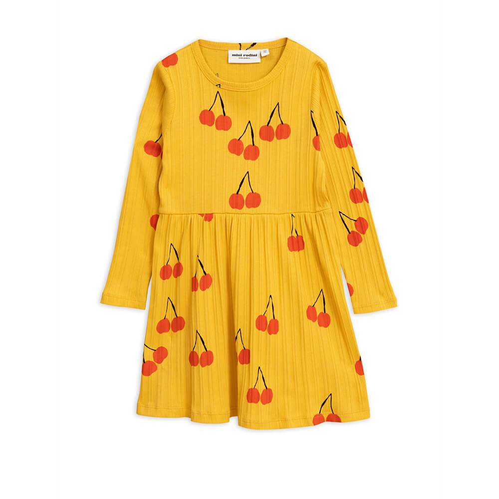 Mini Rodini Cherry LS Dress Yellow Dresses - Tiny People Cool Kids Clothes