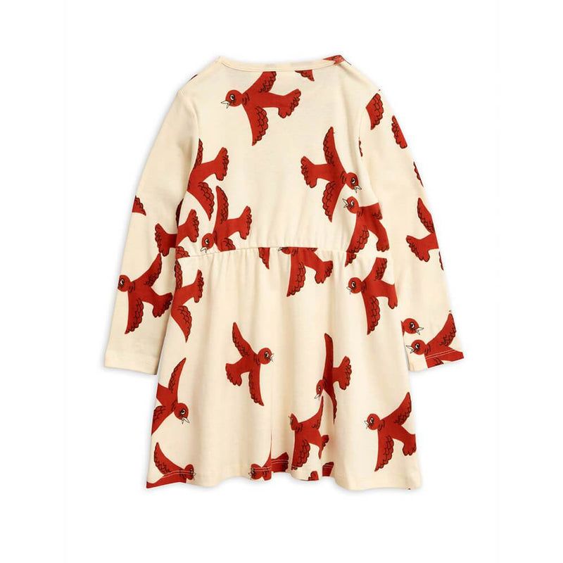 Flying Birds LS Dress Off-White