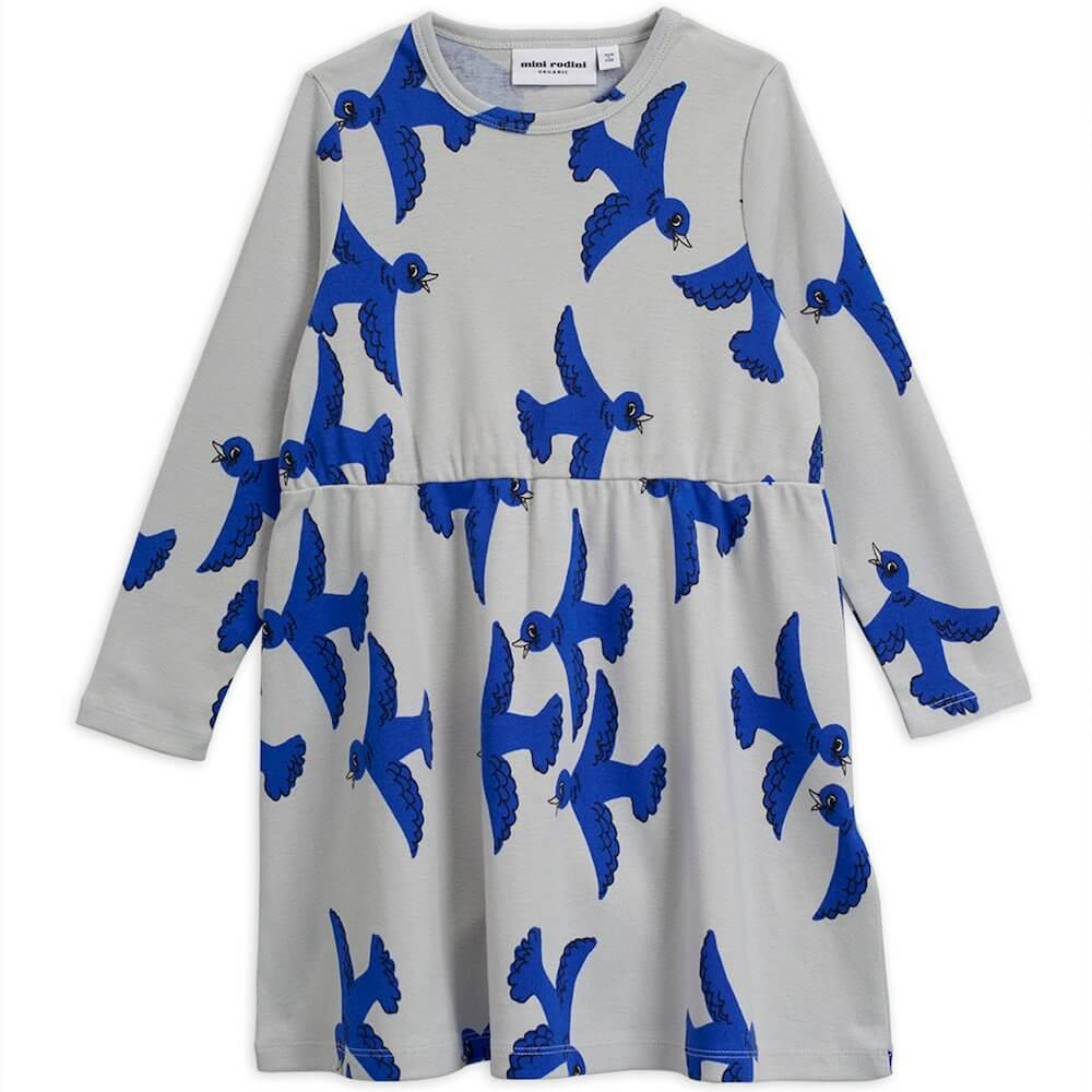 Flying Birds LS Dress Light Grey