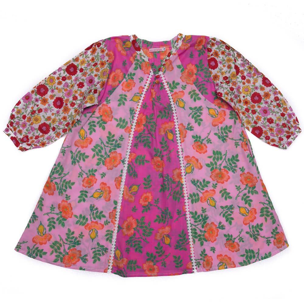 Coco & Ginger Athena Dress Pink & Red Patch Girls Dresses - Tiny People Cool Kids Clothes