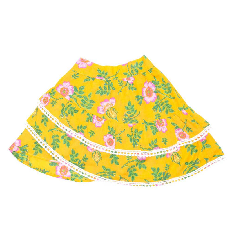 Coco & Ginger Bambi Mini Skirt Yellow Dogwood Rose Girls Skirts - Tiny People Cool Kids Clothes