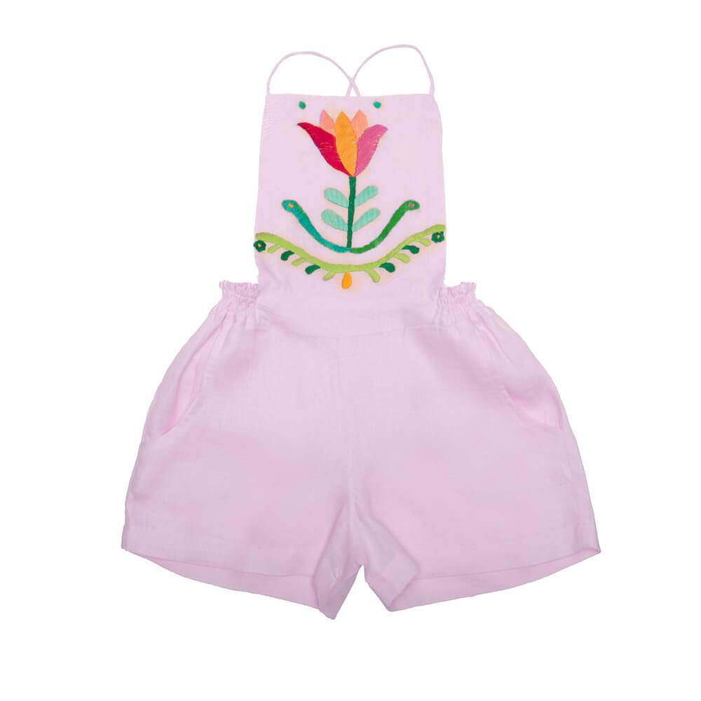 Coco & Ginger Melati Playsuit Bellini with Hand Embroidery Girls Jumpsuits - Tiny People Cool Kids Clothes