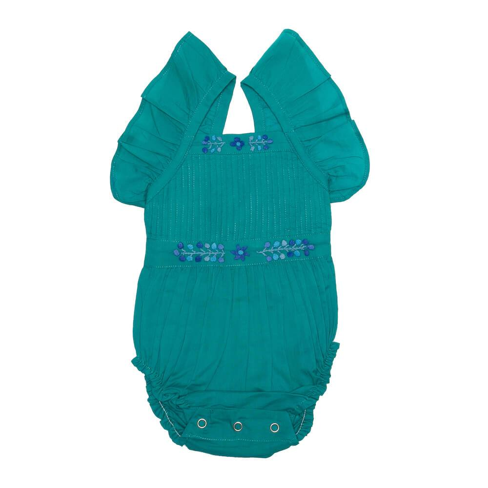 Coco & Ginger Sadie Sunsuit Lapis with Embroidery Baby Onesies & Rompers - Tiny People Cool Kids Clothes