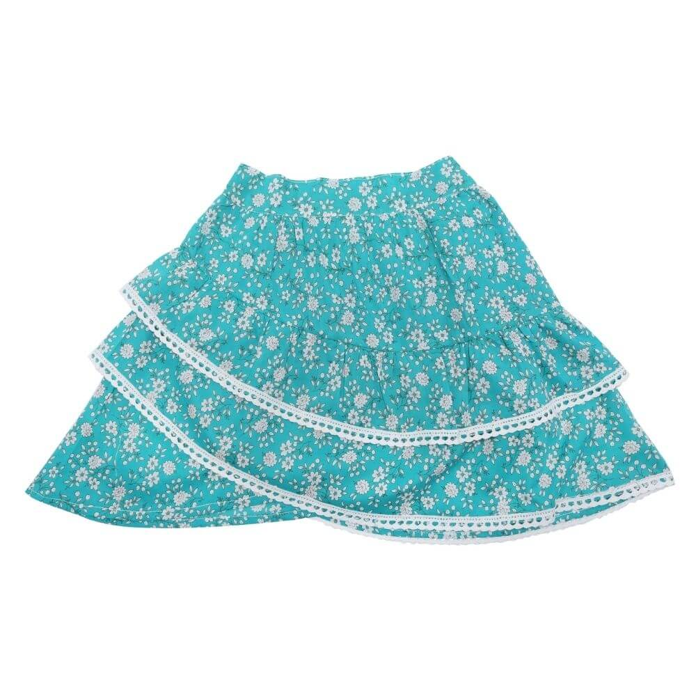 Coco & Ginger Bambi Skirt Bluebird Whisper with Lace | Tiny People