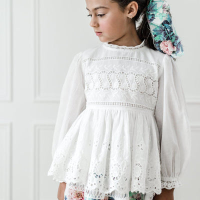 Embroidered Babydoll Top White