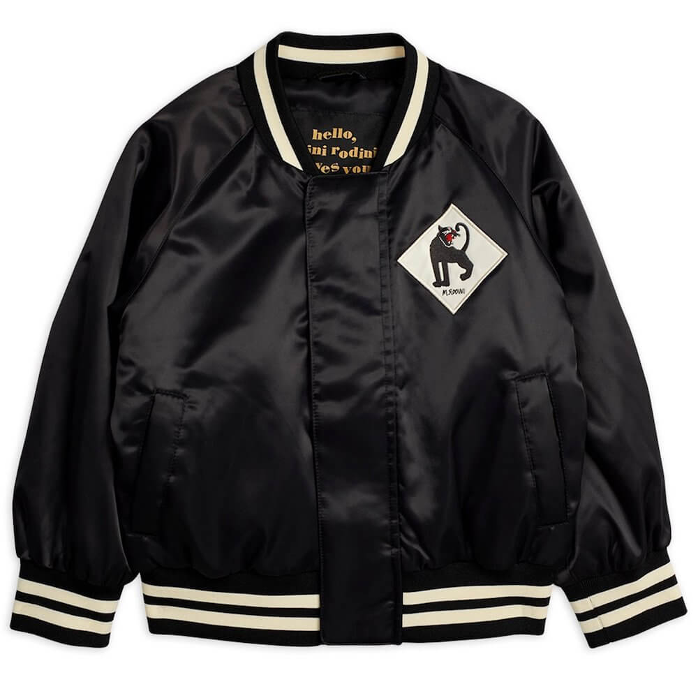 Mini Rodini Panther Baseball Jacket (Black) | Tiny People