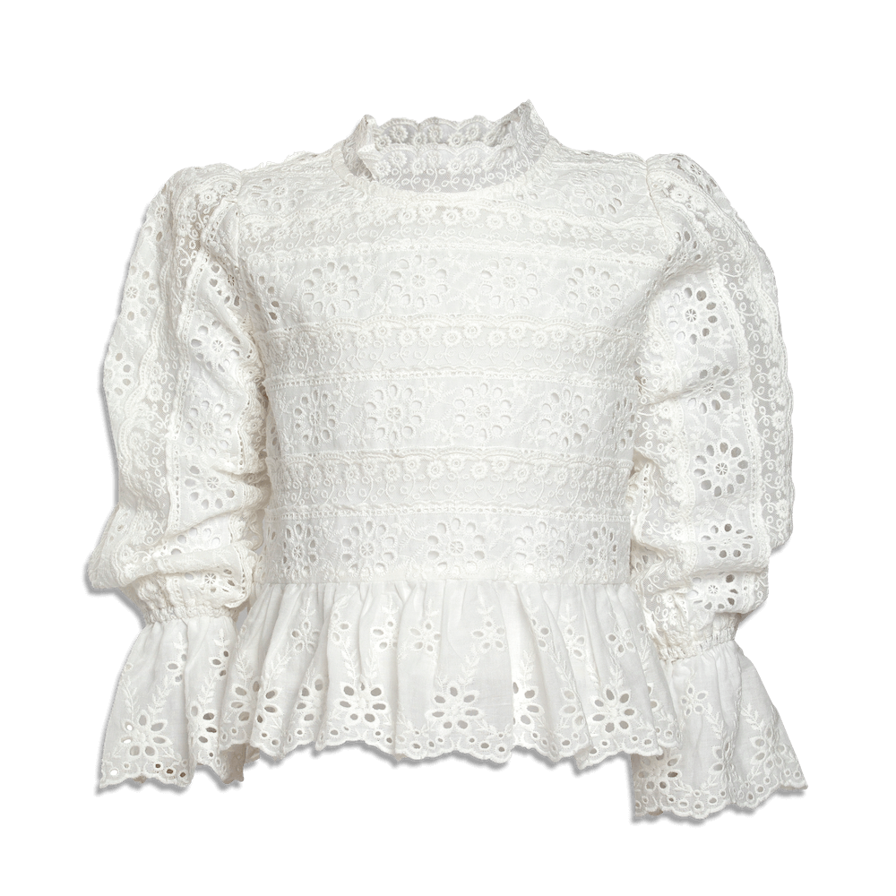 Petite Amalie Long Sleeve Ribbon Lace Blouse | Tiny People