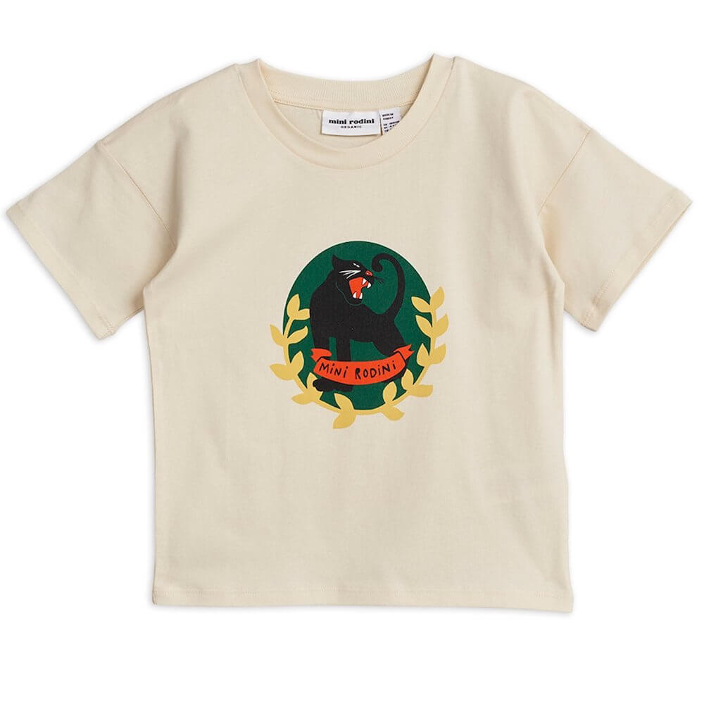 Mini Rodini Panther Badge SS Tee (Off-White) | Tiny People