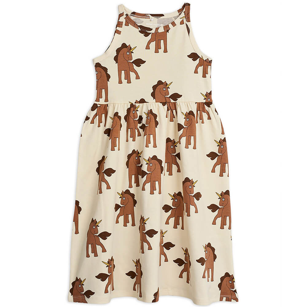 Mini Rodini Unicorn Tank Dress (Off-White) | Tiny People