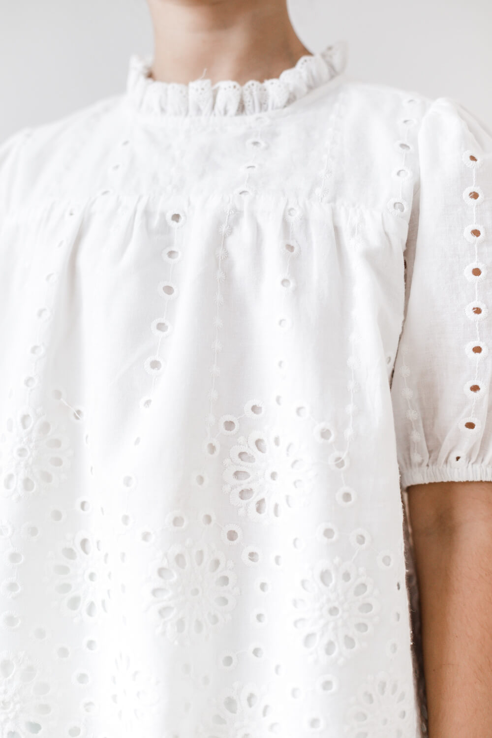 Petite Amalie Elbow Sleeve Eyelet Blouse White | Tiny People
