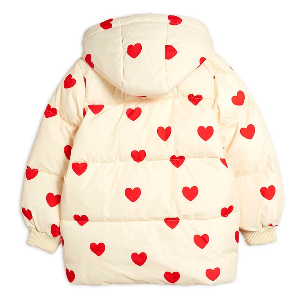 Mini Rodini Hearts Pico Puffer Jacket (Off-White) | Tiny People