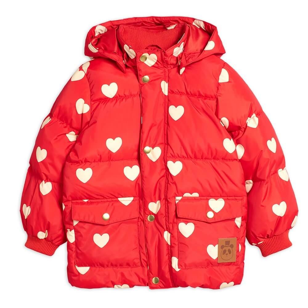Mini Rodini Hearts Puffer Jacket (Red) | Tiny People