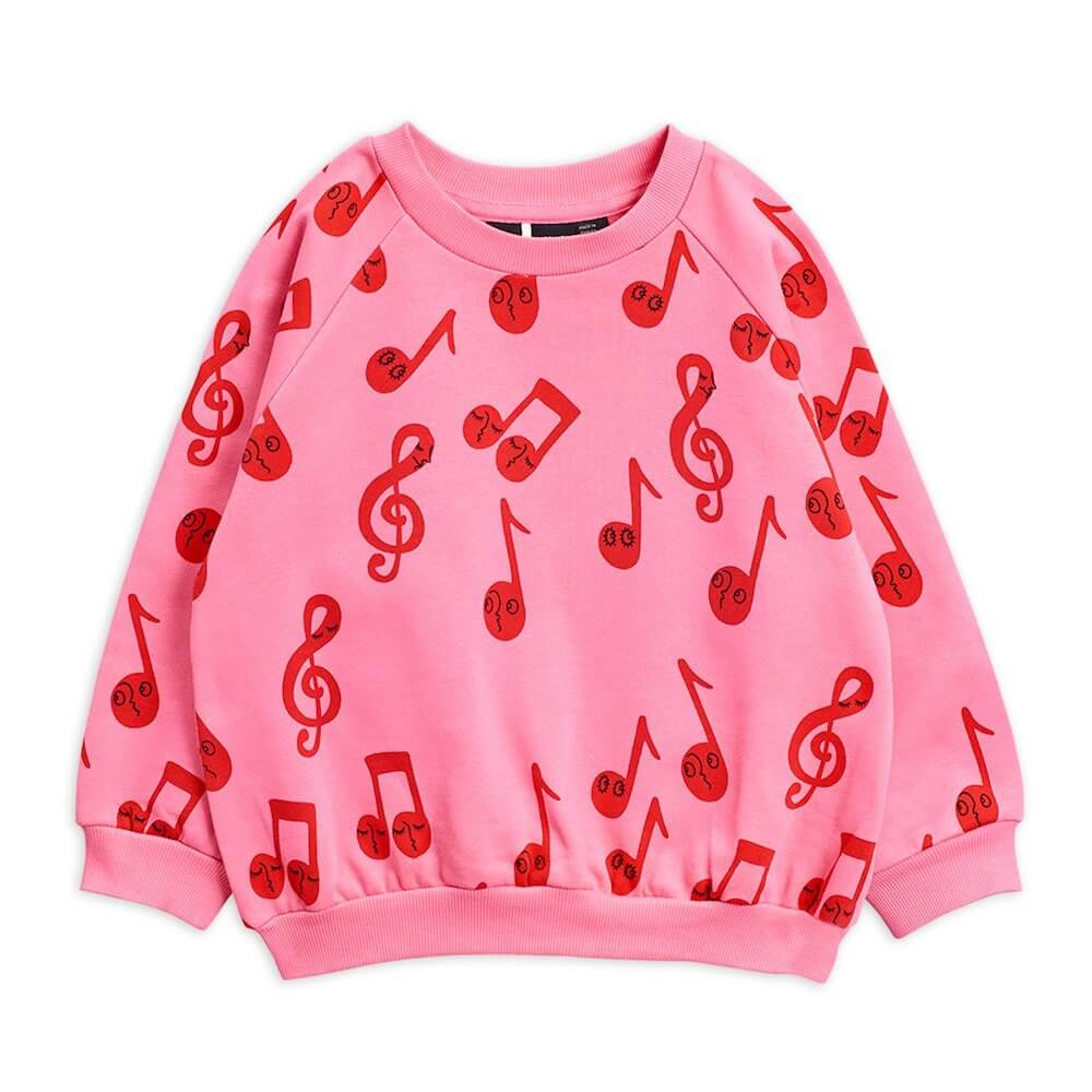 Mini Rodini Notes AOP Sweatshirt (Pink) | Tiny People