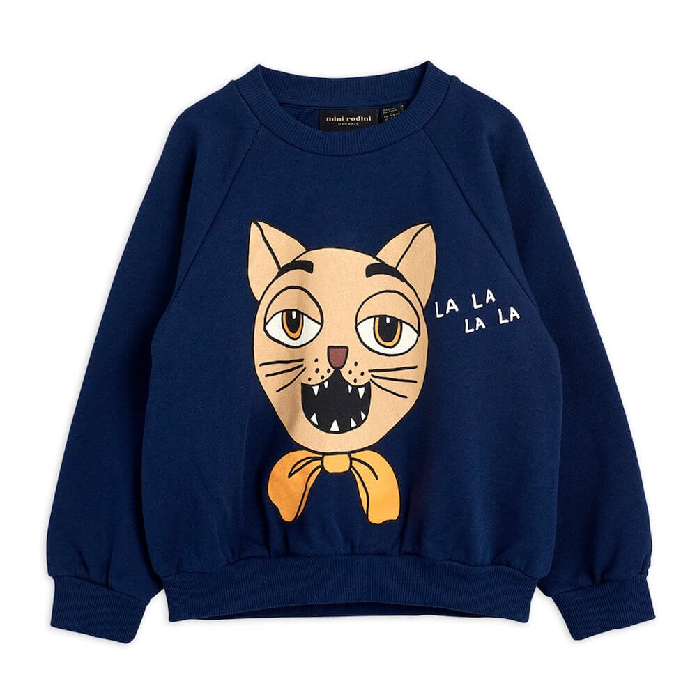 Mini Rodini Cat Choir Sweatshirt (Navy) | Tiny People