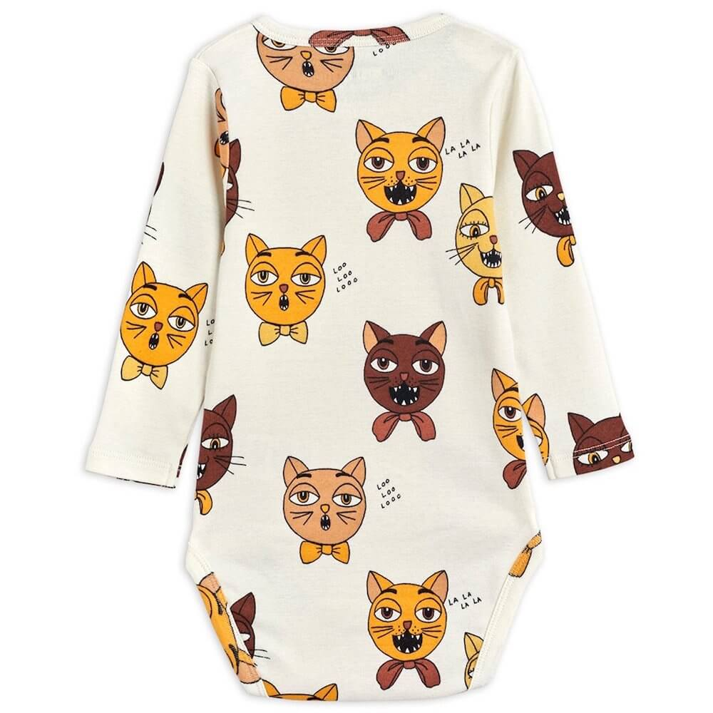 Mini Rodini Cat Choir LS Bodysuit | Tiny People