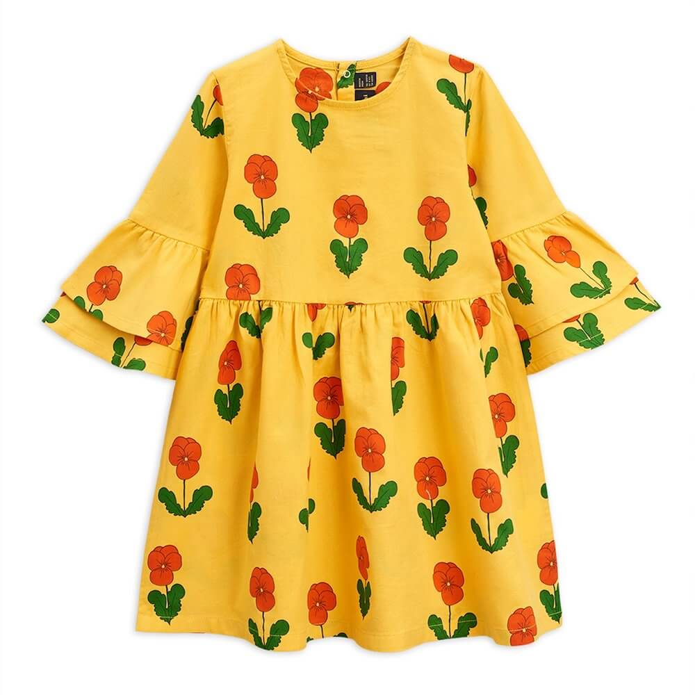 Mini Rodini Violas Woven Flared Sleeve Dress (Yellow) | Tiny People