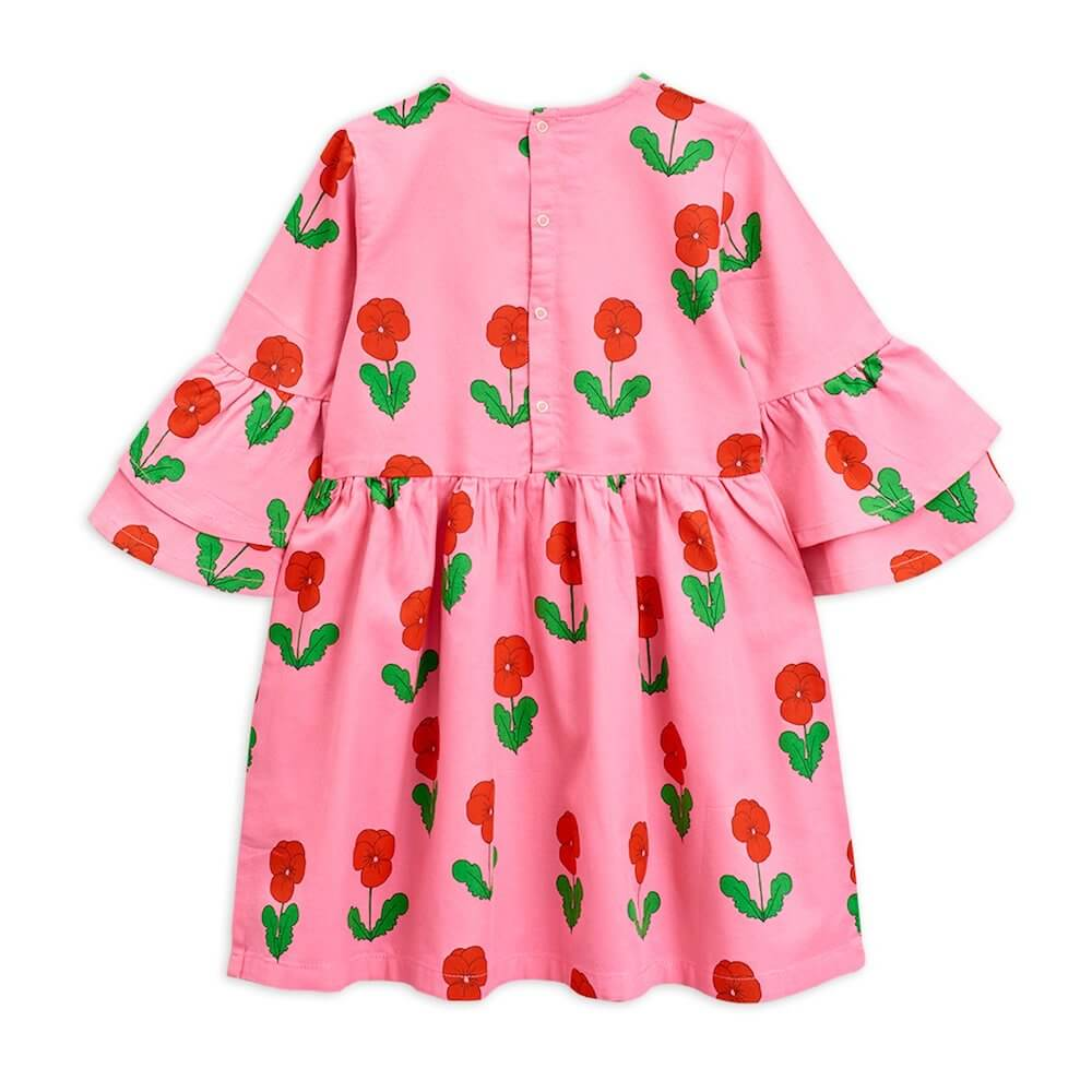 Mini Rodini Violas Woven Flared Sleeve Dress (Pink) | Tiny People