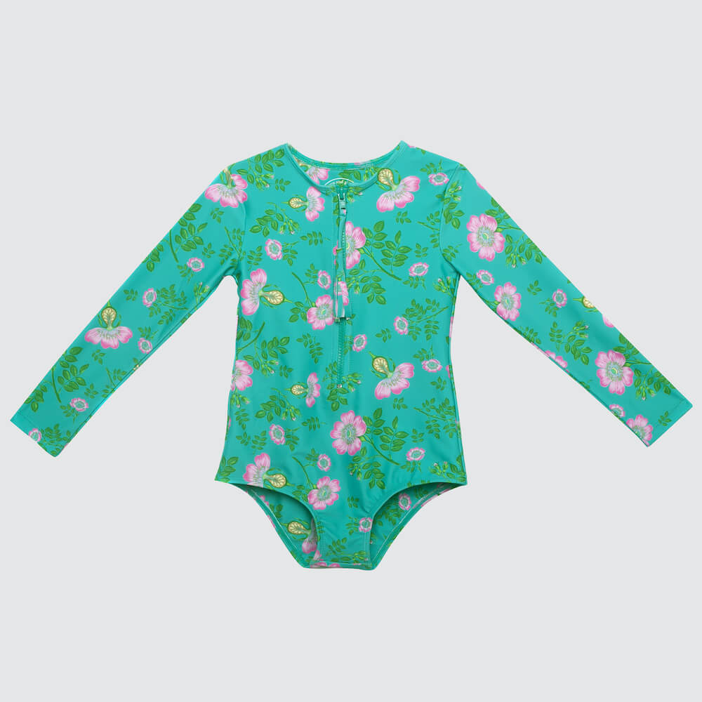 Coco & Ginger One Pc Rash Vest Jade Dogwood Rose | Tiny People
