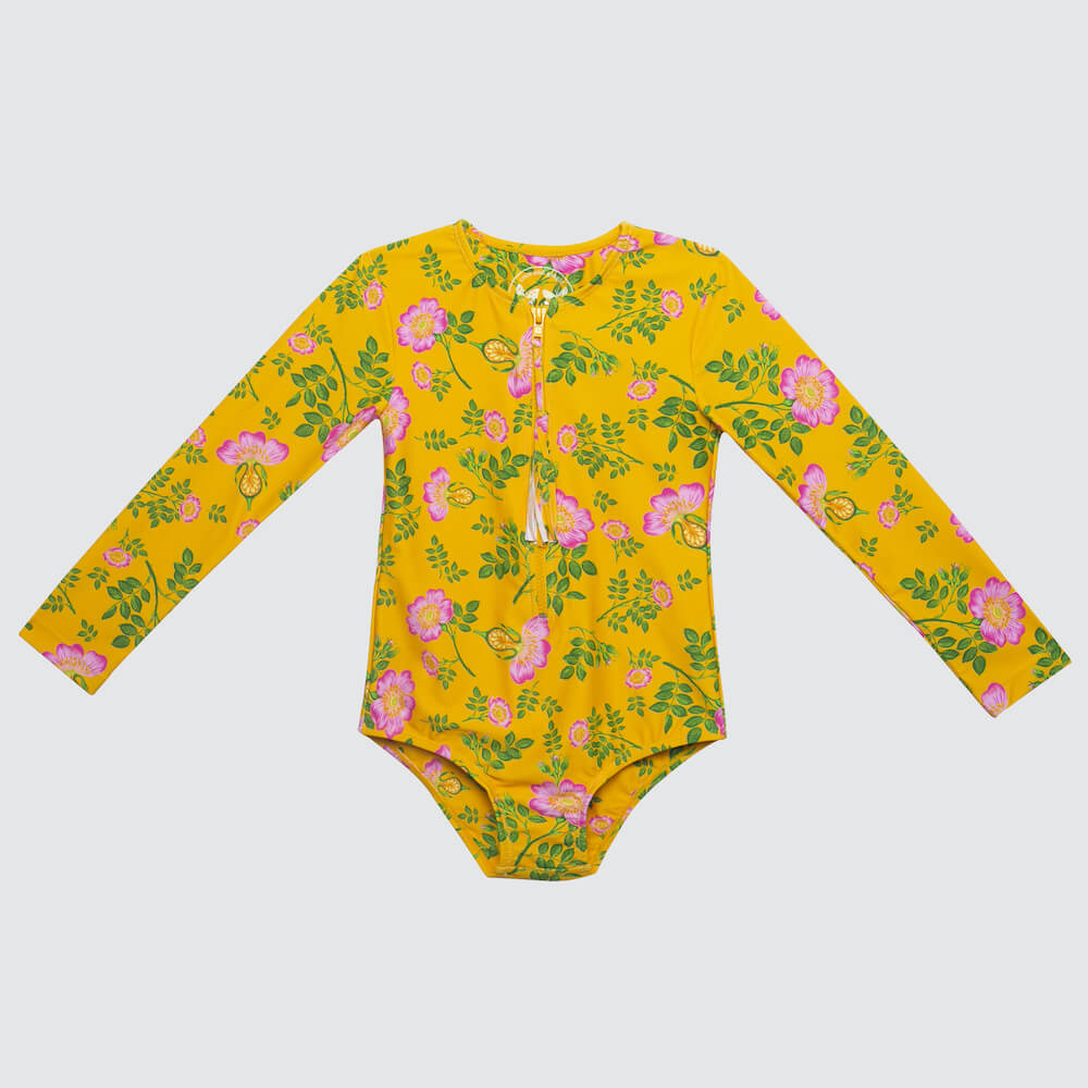 Coco & Ginger One Pc Rash Vest Yellow Dogwood Rose | Tiny People