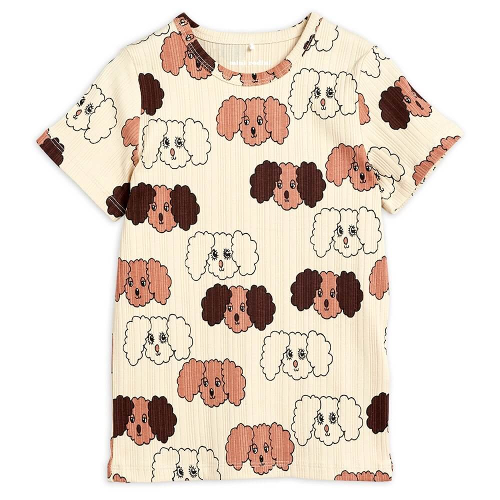 Mini Rodini Fluffy Dog S/S Tee (Beige) | Tiny People