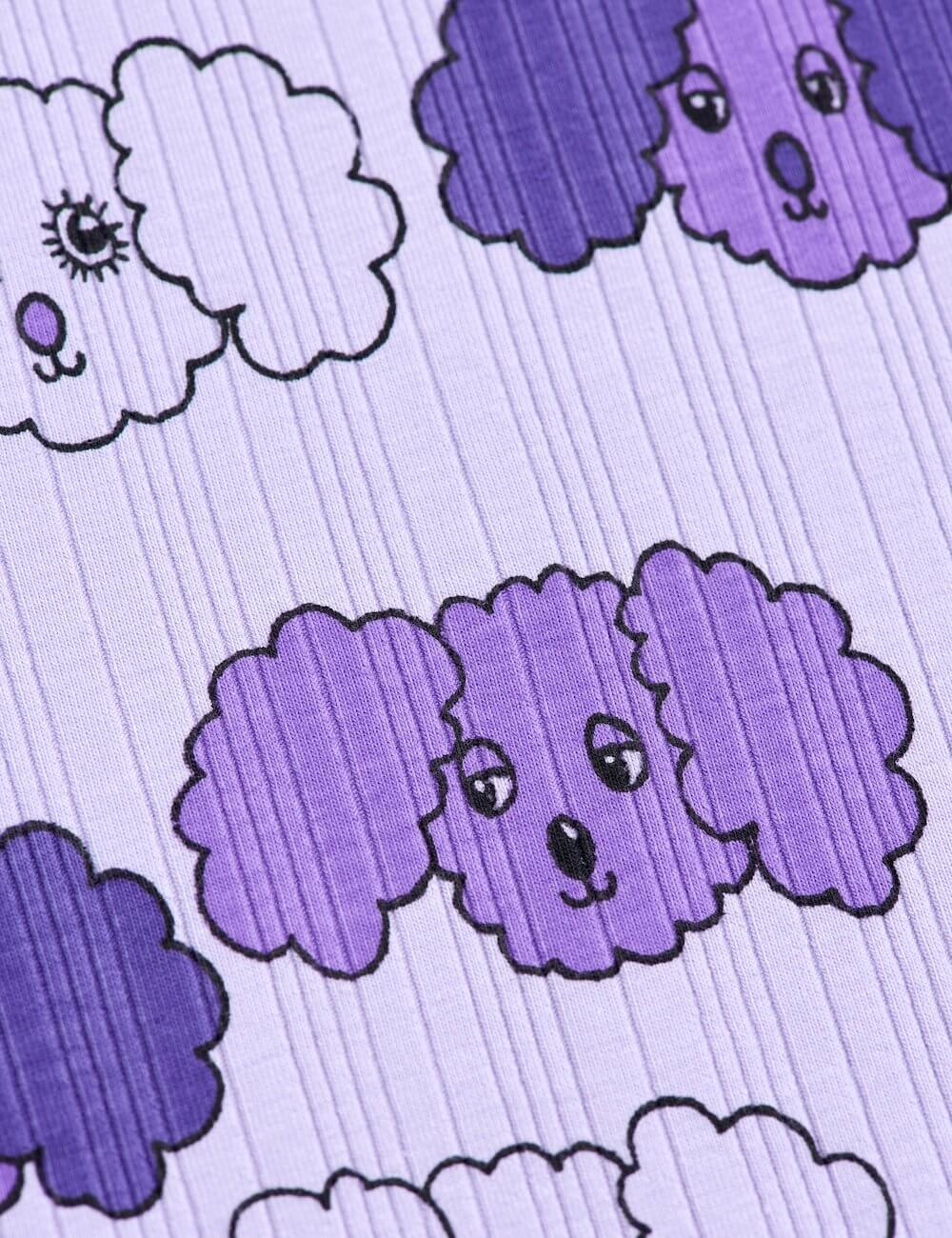 Mini Rodini Fluffy Dog S/S Tee (Purple) | Tiny People