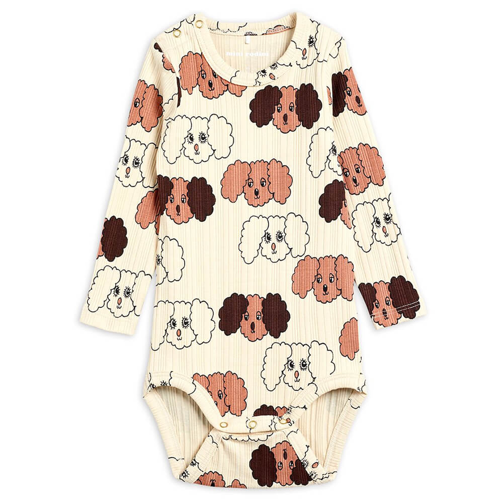 Mini Rodini Fluffy Dog L/S Bodysuit (Beige) | Tiny People