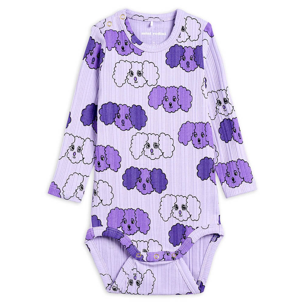 Mini Rodini Fluffy Dog L/S Bodysuit (Purple) | Tiny People