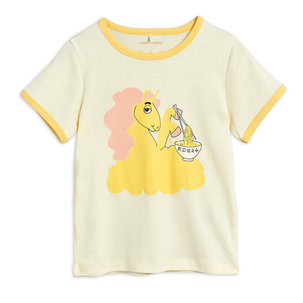 Buy Mini Rodini Australia Unicorn Noodles SP T-Shirt Yellow | Tiny People