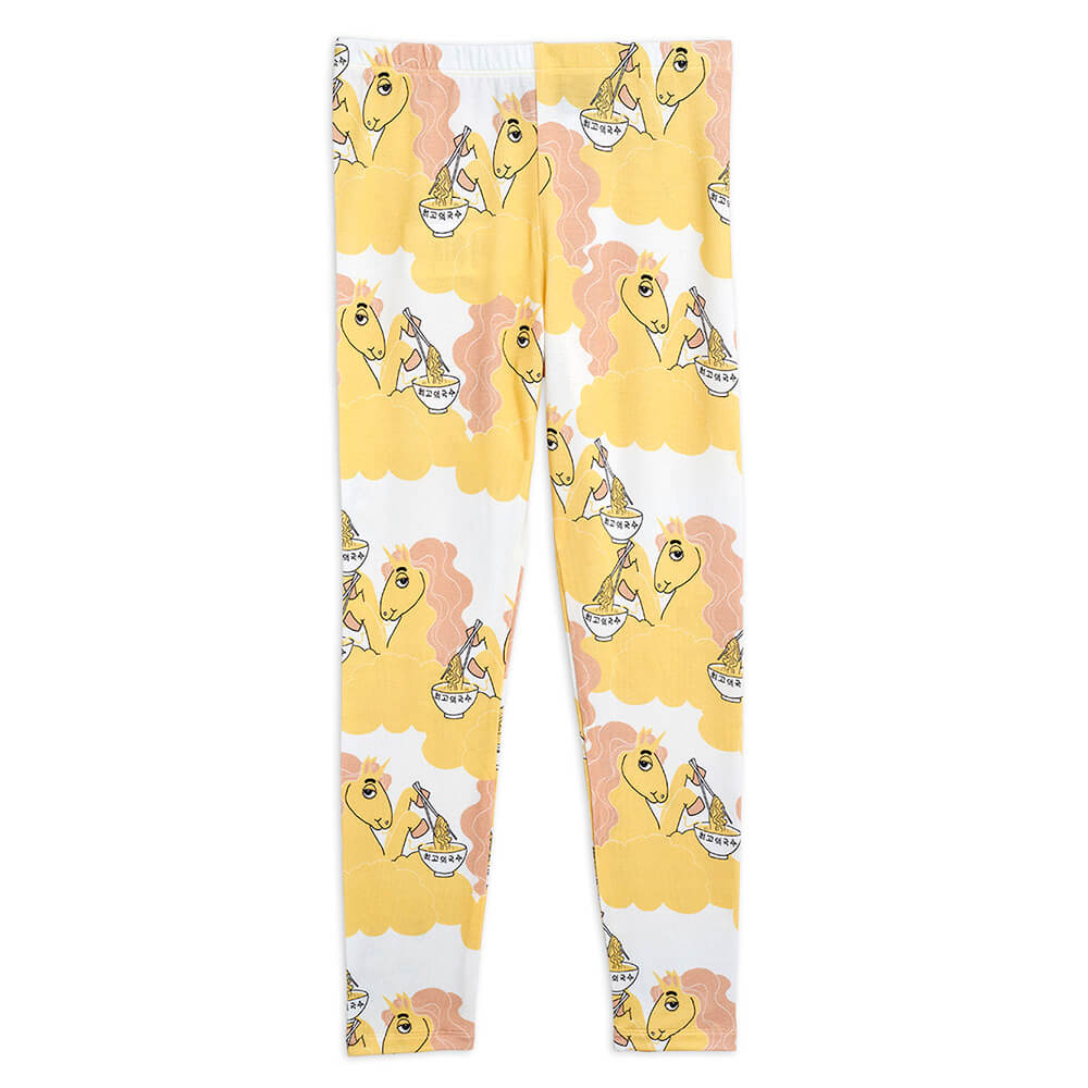 Buy Mini Rodini Australia Unicorn Noodle Leggings Yellow | Tiny People