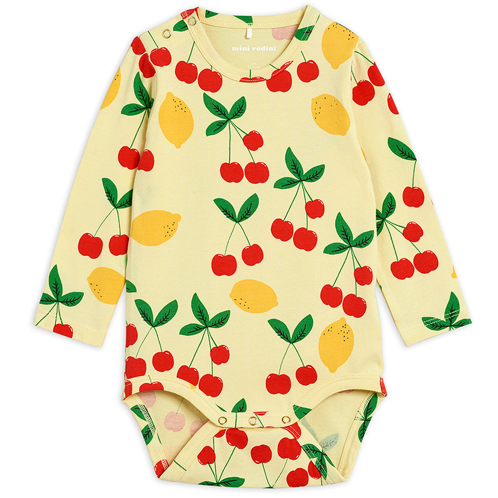 Mini Rodini Cherry Lemonade L/S Bodysuit | Tiny People